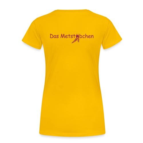 Name vorne - Schriftzug hinten - Frauen Premium T-Shirt