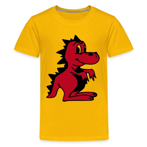 Cute For Kids - Red Dragon (Yellow) - Teenage Premium T-Shirt