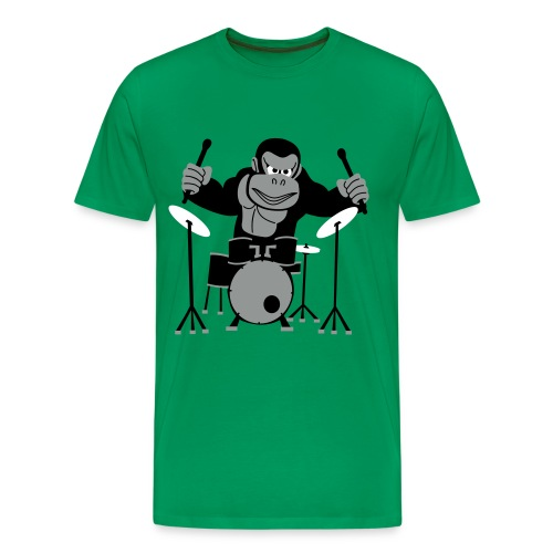 Drumming Gorilla (Green) - Men's Premium T-Shirt