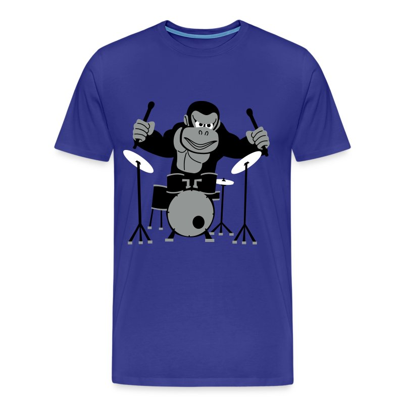 Drumming Gorilla (Royal Blue) - Men's Premium T-Shirt