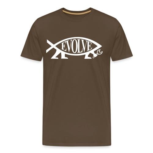 Evolve Shirt mit weissem Fisch. Viele Farben! - Männer Premium T-Shirt