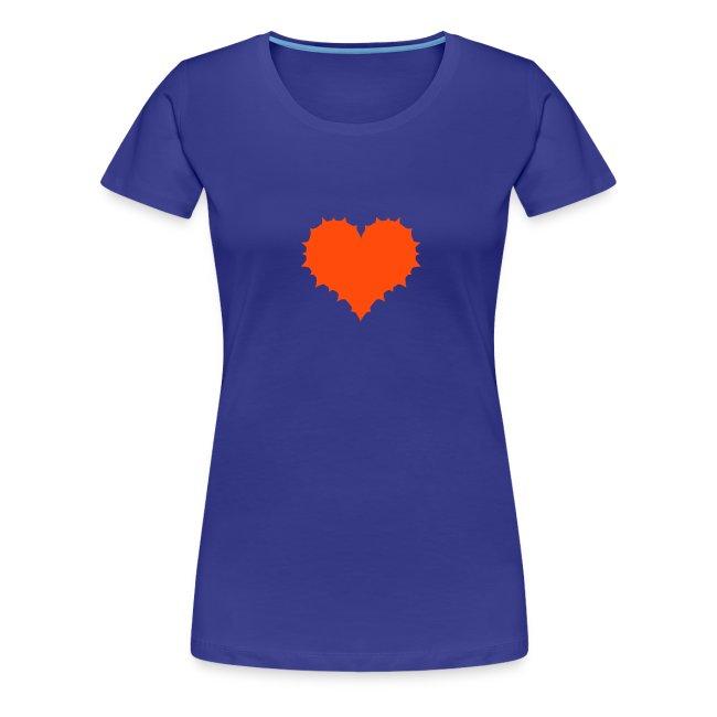 Herz mit Stacheln auf Girlie-Shirt