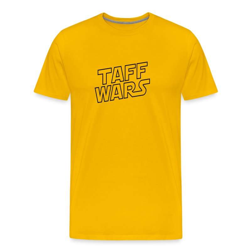 Taff Wars YELLOW comfort t-shirt with text on back - Men's Premium T-Shirt