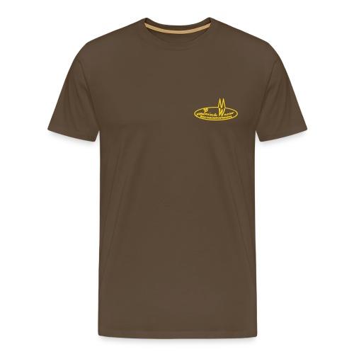 Männer Premium T-Shirt - Braunes Shirt, Logo hinte und vorne, Flockdruck goldgelb