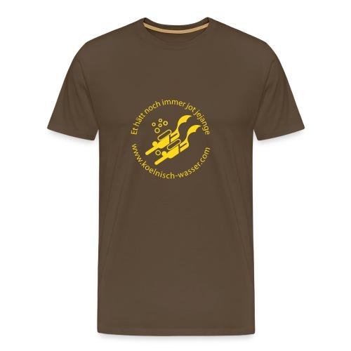 Männer Premium T-Shirt - Hier ist das Logo mal vorne, Flockdruck Goldgelb