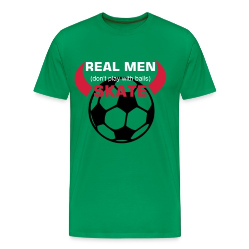 Real men (dont play with balls) skate, med horn - Premium T-skjorte for menn
