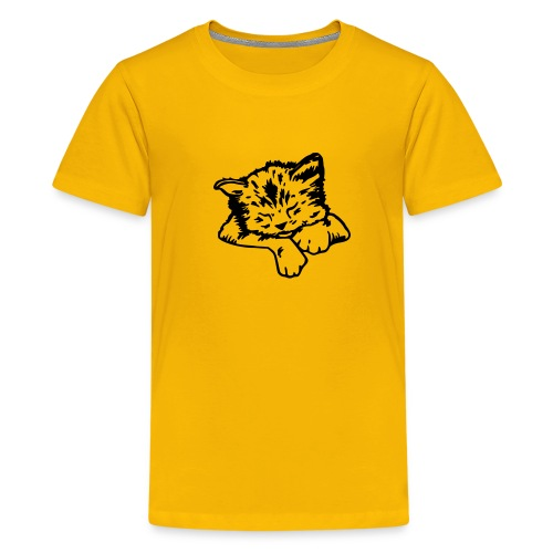 Children's Sleeping Cat Motif Yellow - Teenage Premium T-Shirt