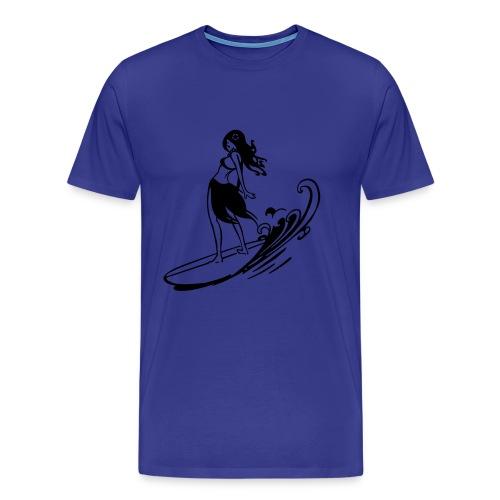 Surfer Girl (Blue) - Men's Premium T-Shirt