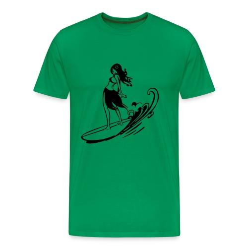 Surfer Girl (Green) - Men's Premium T-Shirt