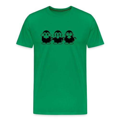 3 Affen - black/green shirt - Männer Premium T-Shirt