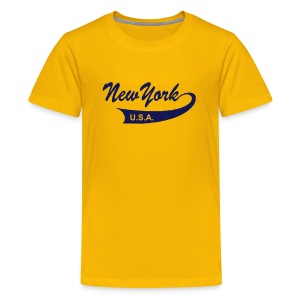 Kinder T-Shirt NEW YORK USA gelb - Teenager Premium T-Shirt