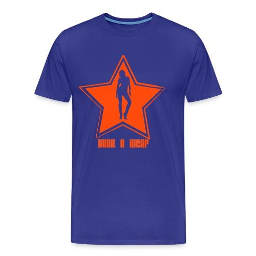 Hunk-A-Wear Ster T-Shirt blauw/neon-oranje - Mannen Premium T-shirt