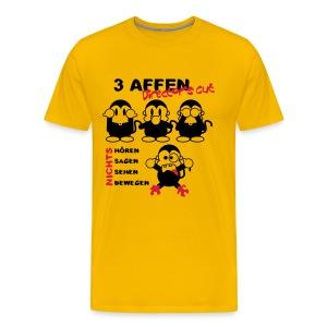 3 Affen Director's Cut - black/yellow shirt - Männer Premium T-Shirt