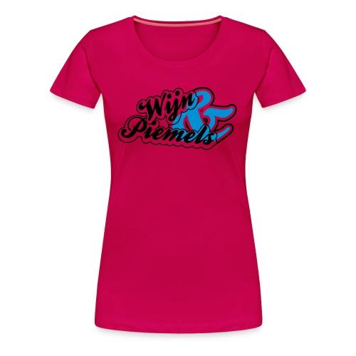 Wijn & Piemels, zwart en blauw flex - Vrouwen Premium T-shirt