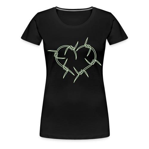 BarbwireHeart - Självlysande - Flera färger - Premium-T-shirt dam