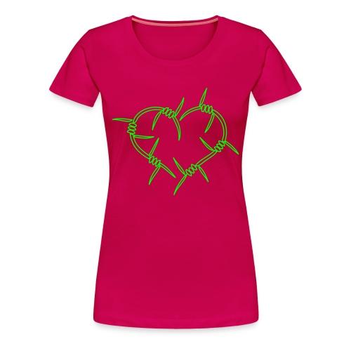 BarbwireHeart - Neongrön - Flera färger - Premium-T-shirt dam