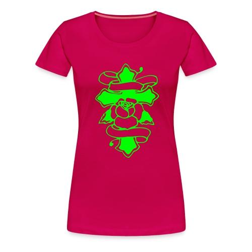 RoseCross - Neongrön - Flera färger - Premium-T-shirt dam