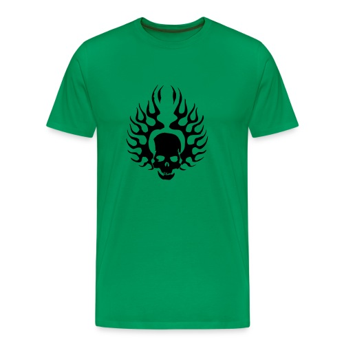 Burning Skull (Flockdruck) - Männer Premium T-Shirt