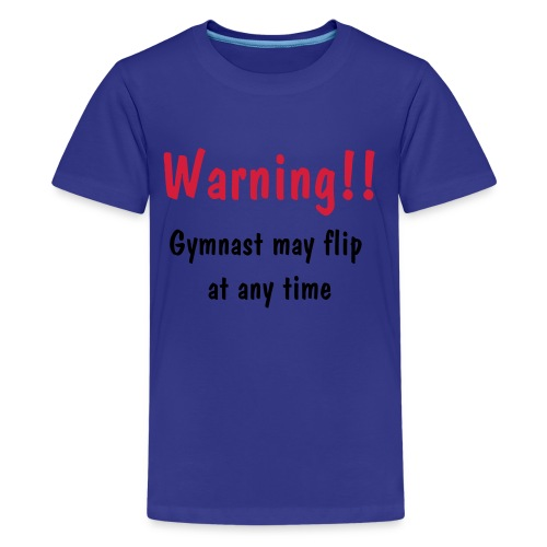 Warning - Blue - Teenage Premium T-Shirt