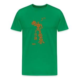 Robot - M T, Khaki & Orange Velvet - Men's Premium T-Shirt