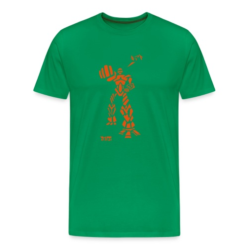 Robot - M T, Khaki & Orange Velvet - Men's Premium T-Shirt