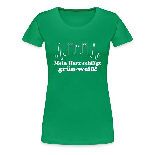 Mein Herz schlägt grün-weiß!, weißer Flexdruck - Frauen Premium T-Shirt