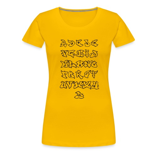 Tee SHirt for Woman - Alphabet Graffiti Noir - T-shirt Premium Femme
