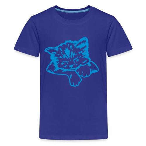 T-shirt med katt tryck. - Premium-T-shirt tonåring
