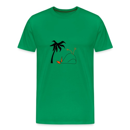 Liegendes Huhn mit Palme 2 farbig - Männer Premium T-Shirt