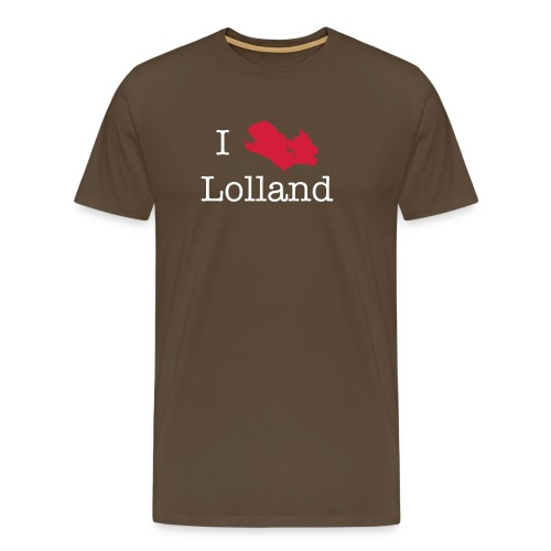I love Lolland -brun T-shirt - Herre premium T-shirt