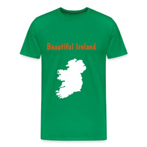 green tee beautiful ireland and ireland map neon orange/white print - Men's Premium T-Shirt