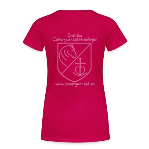 tryck fram och bak, glittrande rosa på valfri färg - Premium-T-shirt dam
