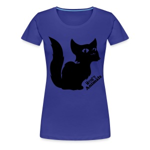 Girlieshirt lila mit Comic Katze - Frauen Premium T-Shirt
