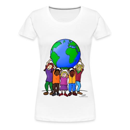 Kinder mit Weltkugel - Frauen Premium T-Shirt