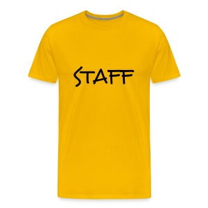 Mens ' Staff ' Tee v4 Yellow / Black Flex Print - Men's Premium T-Shirt