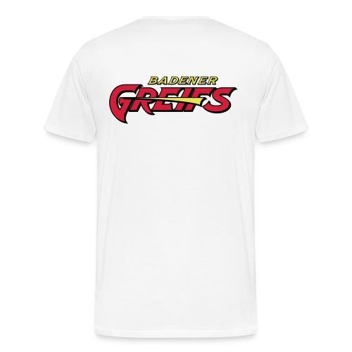 Männer Übergrößen T-Shirt weiß - Greifs-Logo & Schriftzug - Männer Premium T-Shirt