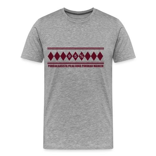 Anti-Jussi harmaa - Miesten premium t-paita