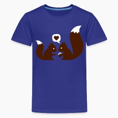 Cyan squirrels in love - to give each other Kids' Shirts