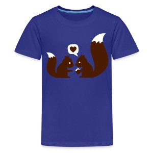 Cyan squirrels in love - to give each other Kids' Shirts - Teenage Premium T-Shirt