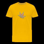 T-Shirts ~ Männer Premium T-Shirt ~ Glow In The Dark Raster Hanfblatt gelb grün rot