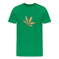 T-Shirts ~ Männer Premium T-Shirt ~ Glow In The Dark Raster Hanfblatt gold grün schwarz