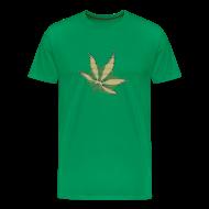 T-Shirts ~ Men's Premium T-Shirt ~ Glow In The Dark Raster Hanfblatt gold grün schwarz