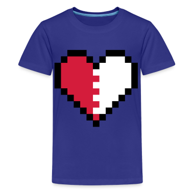Turchese Broken Pixel Heart T-shirt bambini