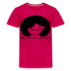Kid's shirt 'Afro Girl ' Pink/Black - Teenage Premium T-Shirt