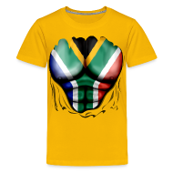 Shirts ~ Teenage Premium T-Shirt ~ South Africa Flag Ripped Muscles, six pack, chest t-shirt