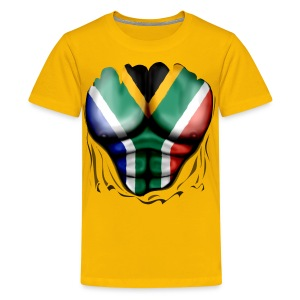South Africa Flag Ripped Muscles, six pack, chest t-shirt - Teenage Premium T-Shirt