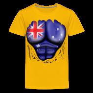 Shirts ~ Teenage Premium T-Shirt ~ Australia Flag Ripped Muscles, six pack, chest t-shirt