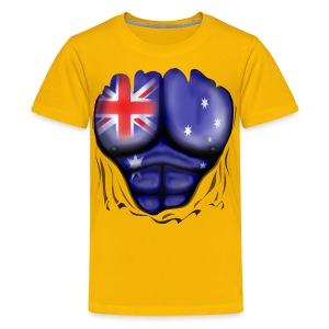 Australia Flag Ripped Muscles, six pack, chest t-shirt - Teenage Premium T-Shirt