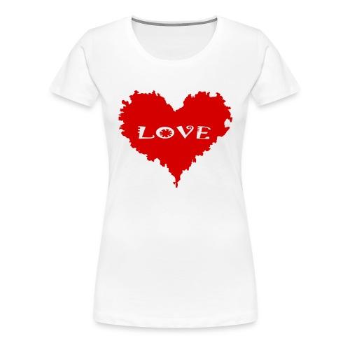 Topp - Rött hjärta LOVE - Premium-T-shirt dam