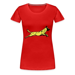 Womens Jumping Dog T-Shirt - Women's Premium T-Shirt